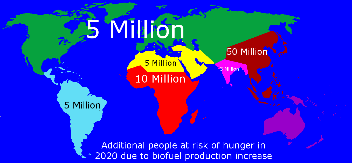 World map of people at risk of hunger by 2020